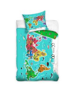 Världskarta sängkläder